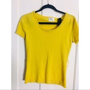 Milly yellow short sleeve knit top no size